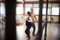 Rachael Walton and Nick Chambers rehearsing